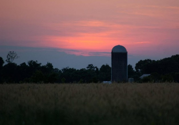 sunset at Old Church Creamery Grade A Dairy in Virginia