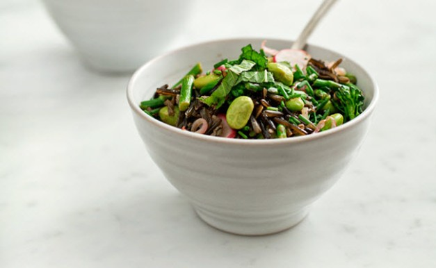 black rice and spring vegetable pilaf from Love and Lemons